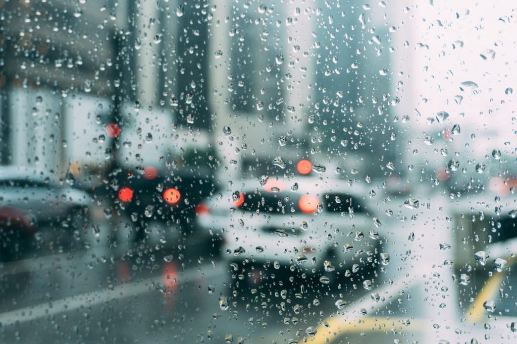 book car at rain
