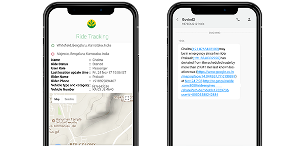Share your Route with Emergency Contacts