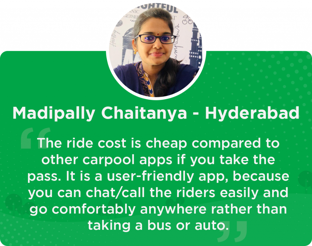 Chaitanya Quick RIde testimonial
