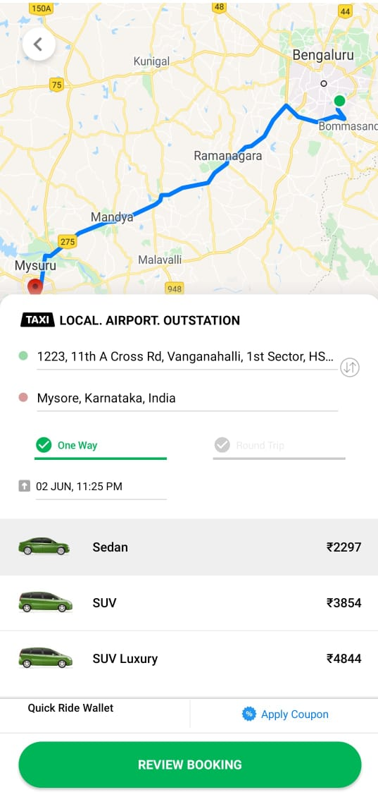 Quick Ride Outstation Taxi